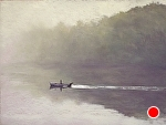 Rowing Into Lifting Fog by Carolyn Caldwell Pastel ~ 18 x 24