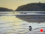 Clamming Long Cove by Carolyn Caldwell Pastel ~ 18 x 24
