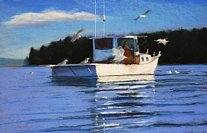 Fishing With Friends by Carolyn Caldwell Pastel ~ 11 x 17