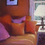 Red Pillows by Carolyn Caldwell Pastel ~ 8 x 8