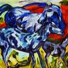 3 blue horses