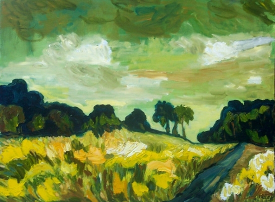 Green Sky by irene salley Oil ~ 18 x 24