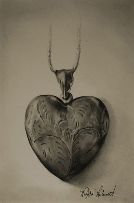 Lovely Locket - carbon and graphite pencil by Marsha Robinett