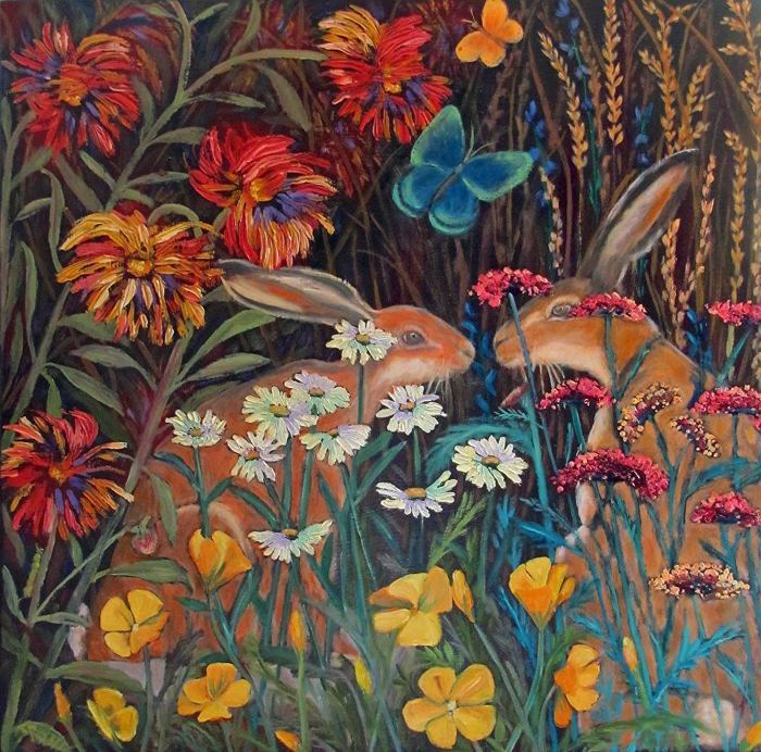 Red Dahlia Garden-Floral Diptych side A - oil painting by Susan Spohn