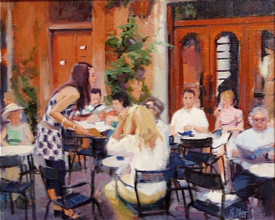 "French Waitress by Raye Anne Marks Oil ~ 16"" x 20"""