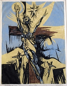 "Ascent from the Cross by Daniel Jimick Woodcut ~ 24"" x 18"""
