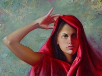 Red Shawl by Timothy C. Tyler Oil ~ 16 x 12