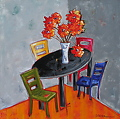"""Goldilock`s Table"" by Dianna Fritzler Mixed Media ~ 30"" x 30"""