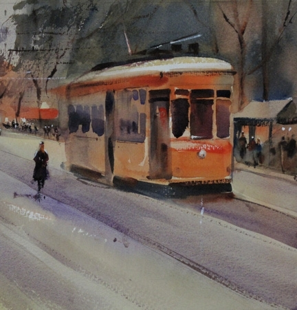 Tram, Market St. by Roger Whitlock Watercolor ~  x 10