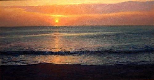 Sunrise Stillness by Michael Budden Oil ~ 12 x 22