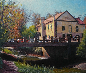 Towpath At Bridge Street, New Hope by Michael Budden Oil ~ 14 x 16 3/4