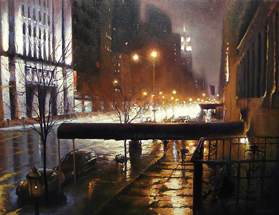 Evening Showers, 5th Avenue, NYC by Michael Budden Oil ~ 24 x 32