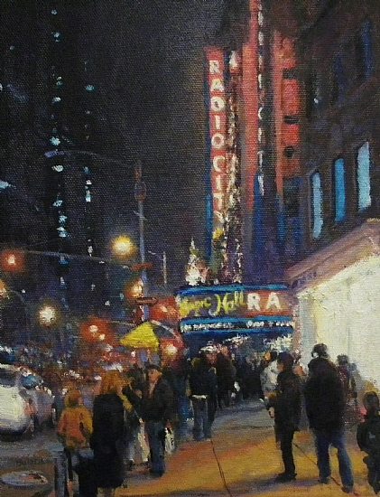 Showtime, Radio City Music Hall by Michael Budden Oil ~ 8 x 10