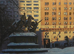 Shadow and Light Grand Army Plaza, NYC by Michael Budden Oil ~ 9 x 12