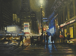 Evening Rain 7th Avenue, NYC by Michael Budden Oil ~ 9 x 12