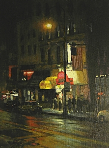 Night Life, NYC, F. Ballard Williams Fund Award, Salmagundi Club, NYC by Michael Budden Oil ~ 9 x 12