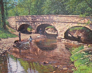 Bridge To Carversville by Michael Budden Oil ~ 18 x 24