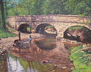 Bridge To Carversville by Michael Budden Oil ~ 18 x 24