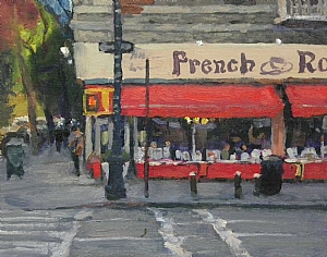 """French Roast, 6th and 11th Street, NYC by Michael Budden Oil ~ 8"""" x 10"""""""