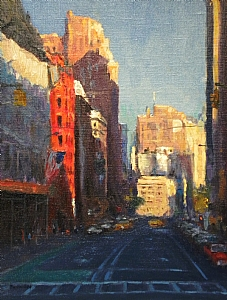 """Up Broadway by Michael Budden Oil ~ 11"""" x 14"""""""