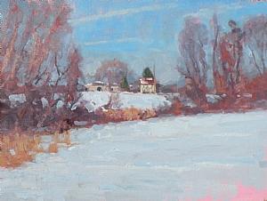 """Winter Plein Air Oil Demo 1 step 6 by Michael Budden Oil ~ 12"""" x 16"""""""