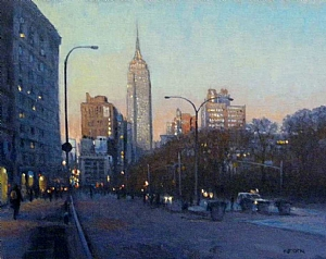 """Empire Evening, NYC by Michael Budden Oil ~ 11"""" x 14"""""""