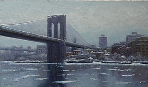 "Composition in Grey, Brooklyn Bridge by Michael Budden Oil ~ 12"" x 20"""