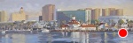 Long Beach Skyline by John White Oil ~ 8 x 24
