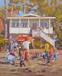 Family Fun by John White Oil ~ 10 x 8