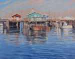 Pier in Monterey by John White Oil ~ 14 x 18