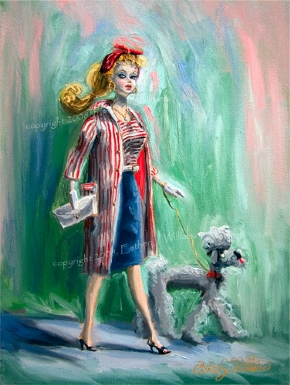 "Barbie in Roman Holiday on a Doggie Walk by Esther J. Williams Oil ~ 16"" x 12"""