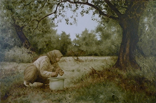 Gathering Olives - Oil