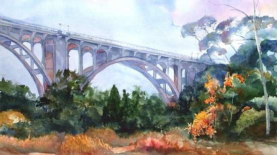 Autumn Under the Colorado Street Bridge by Donna Barnes-Roberts Watercolor ~ 17 x 30