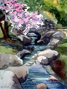 Spring is Pink Today by Donna Barnes-Roberts Watercolor ~ 12 x 9
