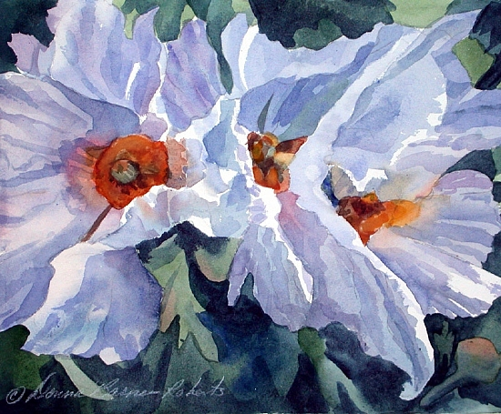 Matilija Triplets by Donna Barnes-Roberts Watercolor ~ 11 x 15