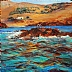 "Greece,  Seagulls by Beatrice Athanas Oil ~ 30"" x 30"""