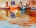 Reflections in Greek Harbor by Beatrice Athanas Oil ~ 11 x 14