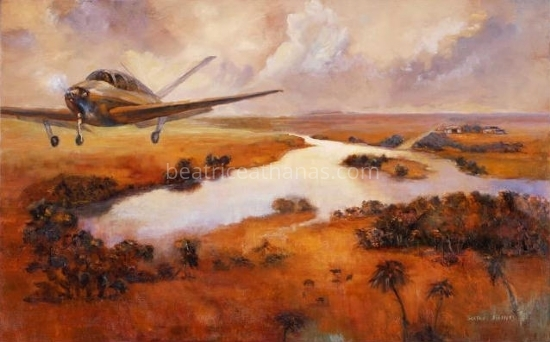 "Bonanza 1947 Model, I can Fly... by Beatrice Athanas Oil ~ 24"" x 48"""