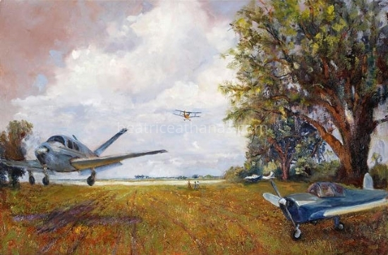 "Beechcraft Bonanza, Fly-In, Spot Landings by Beatrice Athanas Oil ~ 24"" x 36"""