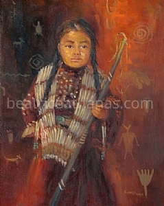 "Americanindian.Lakota Girl with Pipe by Beatrice Athanas Oil ~ 20"" x 16"""