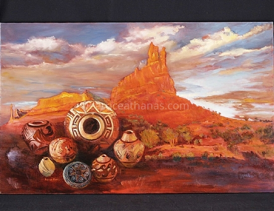 "AmericanIndian, Red Rock Valley by Beatrice Athanas Oil ~ 30"" x 48"""