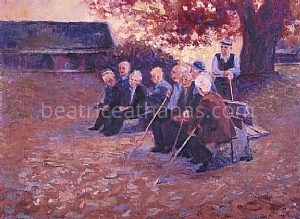 "Greece, Old Men of Metsovo by Beatrice Athanas Oil ~ 18"" x 24"""