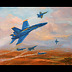 "Tribute to Blue Angels by Beatrice Athanas Oil ~ 24"" x 30"""