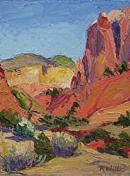 """Afternoon on Kitchen Mesa"" 12x9"" oil on panel, by Kathryn Willis"