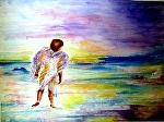 """Angel Watching Over by Sandy Ryan Watercolor ~ 12"""" x 16"""""""