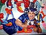 "Nick the Balloonatic by Sandy Ryan Oil ~ 20"" x 24"""