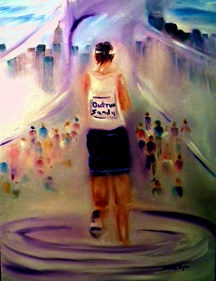 "Outrun ""Sandy"" NYC Marathon 2012 by Sandy Ryan Oil ~ 20"" x 16"""