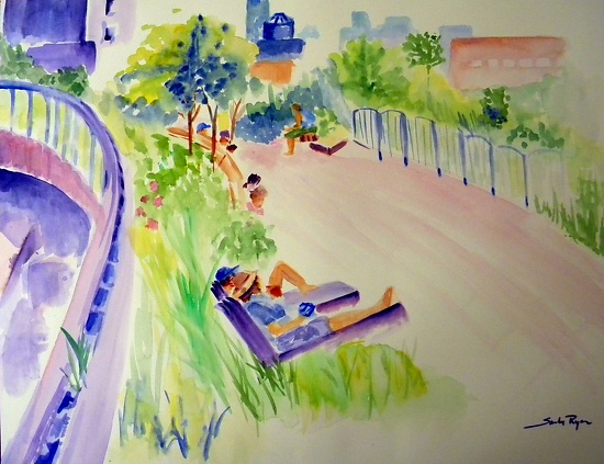 "On the High Line by Sandy Ryan Watercolor ~ 12"" x 16"""