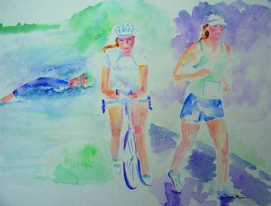 "Tri Time by Sandy Ryan Watercolor ~ 12"" x 16"""