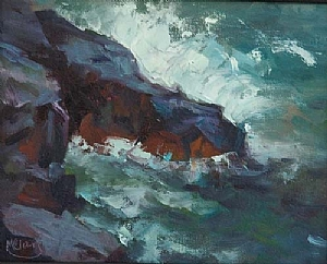 Waves of Lake Superior by MaryAnn Cleary Oil ~ 8 x 10
